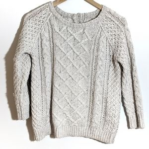 LOFT Cable Knit Crew Neck Sweater Buttons on back
